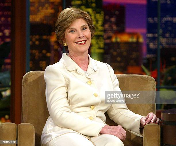 "First Lady Laura Bush appears on ""The Tonight Show with Jay Leno"" at the NBC Studios on May 19, 2004 in Burbank, California."