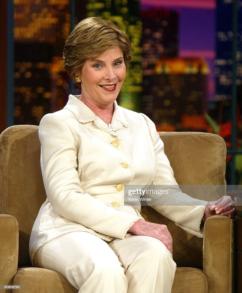 First Lady Laura Bush appears on 'The Tonight Show with Jay Leno' at the NBC Studios on May 19, 2004 in Burbank, California.