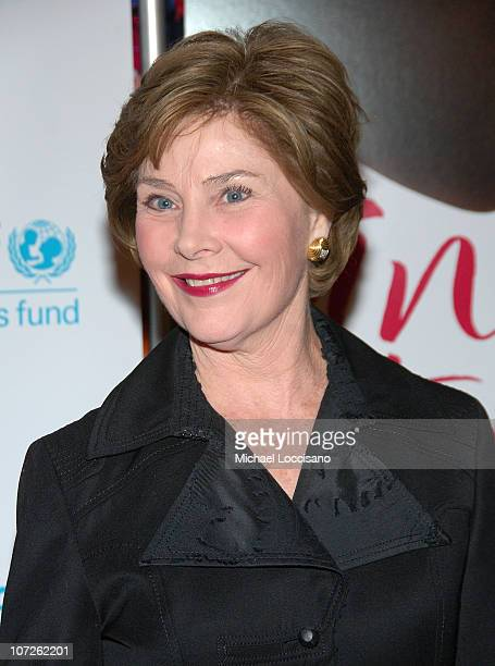 First Lady Laura Bush arrives to the UNICEF launch for her daughter Jenna Bush's new book Ana's Story A Journey Of Hope at Labouisse Hall in the...