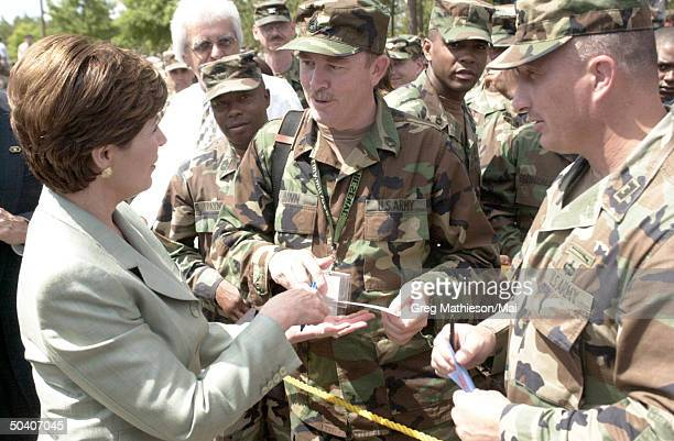 First Lady Laura Bush at US Army base promoting the Troops to Teachers program which has been designed to help interested individuals coming out of...