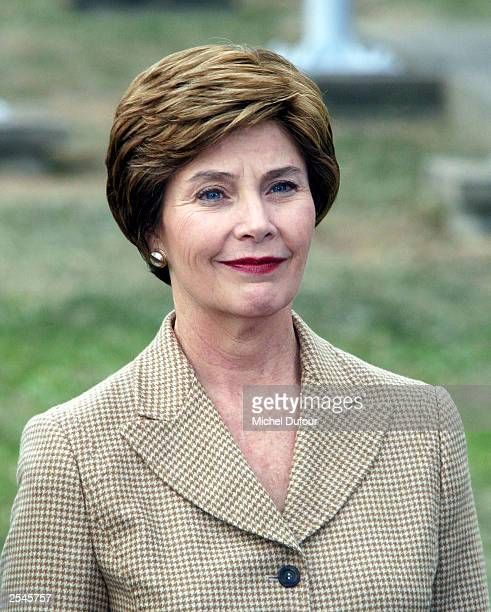 First Lady Laura Bush attends a flag ceremony at UNESCO headquarters on September 29, 2003 in Paris, France. This is the first visit by the U.S. In...