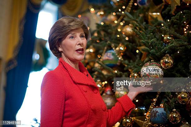 First lady Laura Bush discusses the decorations on the White House Christmas tree in Washington Thursday November 29 2007 Laura Bush announced the...