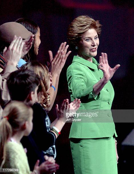 First Lady Laura Bush during America's Future Rocks Today A Call to Service at Armory in Washington DC United States