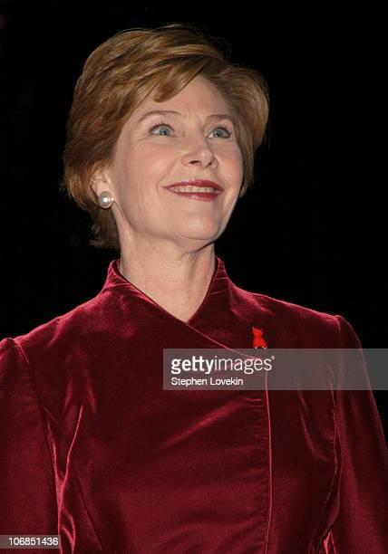 First Lady Laura Bush during Olympus Fashion Week Fall 2005 Heart Truth Red Dress Collection Backstage and Runway at The Tent Bryant Park in New York...