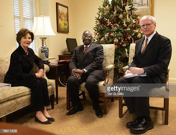 US First Lady Laura Bush meets with Ibrahim Gambari United Nations Special Advisor on Burma and James Jeffry Deputy National Security Advisor 17...