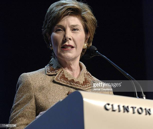 First Lady Laura Bush speaks at the Opening Plenary of the Clinton Global Initiative 2006 at the Sheraton in New York City on September 20, 2006.