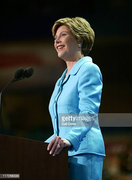 First Lady Laura Bush speaks at the podium on the second night of the Republican National Convention in New York City New York Tuesday night August...