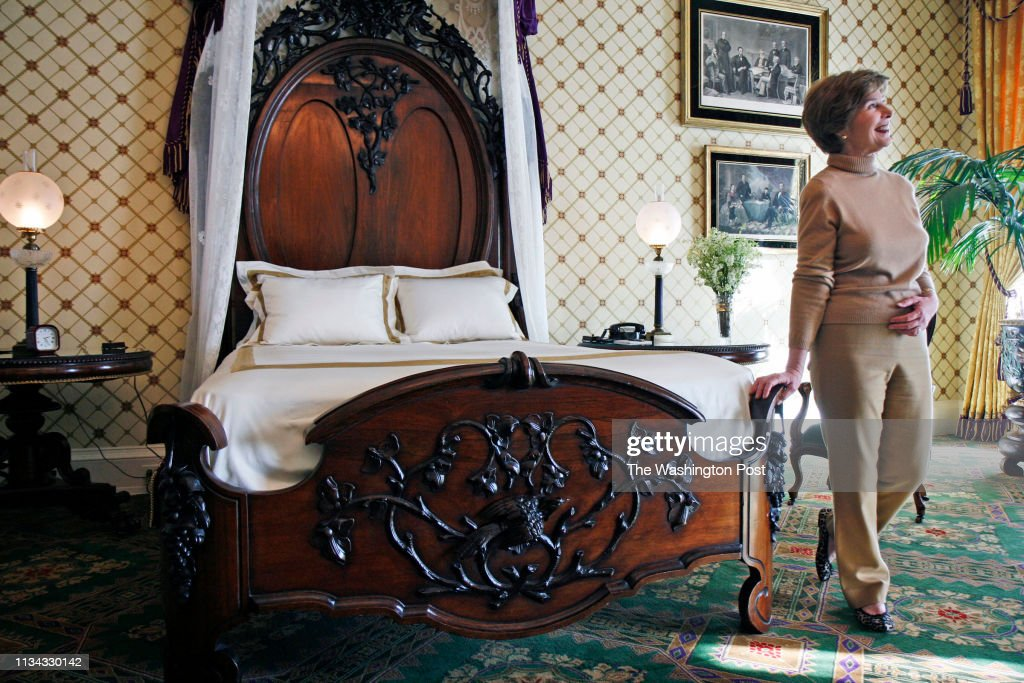 First Lady Laura Bush Redecorates the Lincoln Bedroom : News Photo