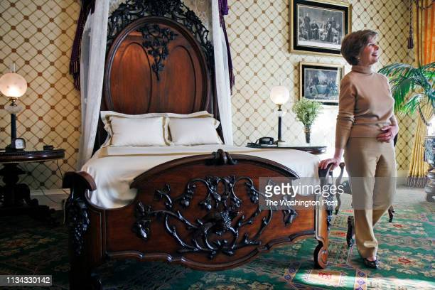FILE First Lady Laura Bush stands in the newly refurbished Lincoln bedroom of the White House on Feb 08 2019 in Washington D C Laura Bush has just...