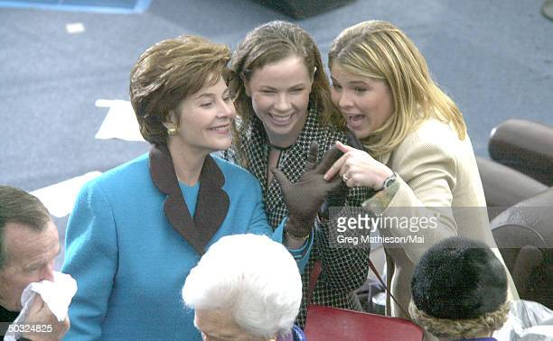 First Lady Laura Bush w daughters Barbara and Jenna at Inaugural ceremonies on the west side of the US Capitol building