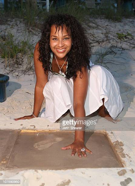 First Lady LisaRaye Misick participates in Footprints in the Sand at the Alexandra Hotel during the Turks and Caicos Film Festival on October 19 2007...