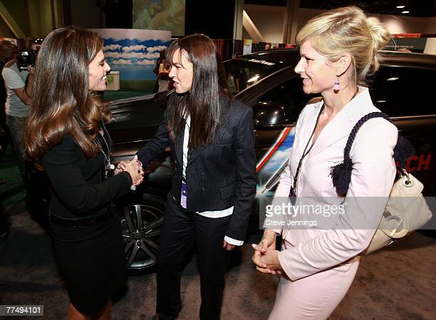 First Lady Maria Shriver Dr Petra HackenbergWiedl and Audi's Manager Lifestyle Communications/CSR Anja Kaehny at the AUDI booth during the Women's...