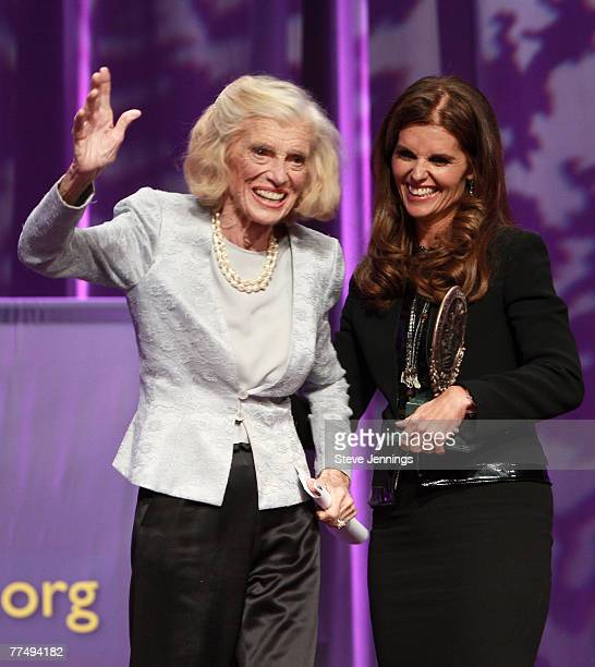 First Lady Maria Shriver presents her mother Eunice Kennedy Shriver the Minerva Lifetime Achievement Award during the Women's Conference 2007 held at...