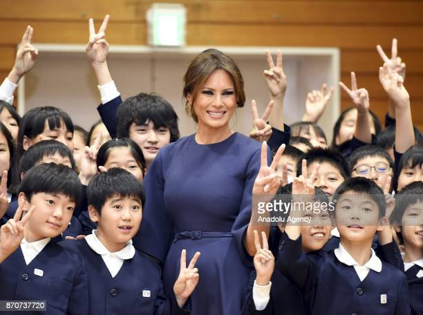 First Lady Melania Trump accompanied by Japanese First Lady Akie Abe visits at Kyobashi Tsukiji Elementary School in Tokyo Japan on November 06 2017...