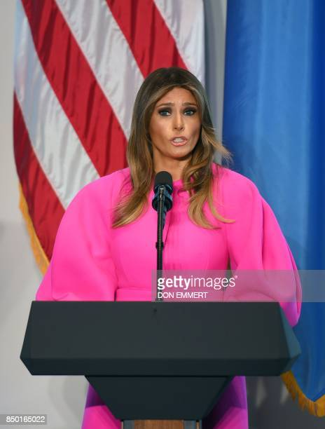 US First Lady Melania Trump addresses other spouses of world leaders at a United Nations luncheon on September 20 in the United States Mission in New...