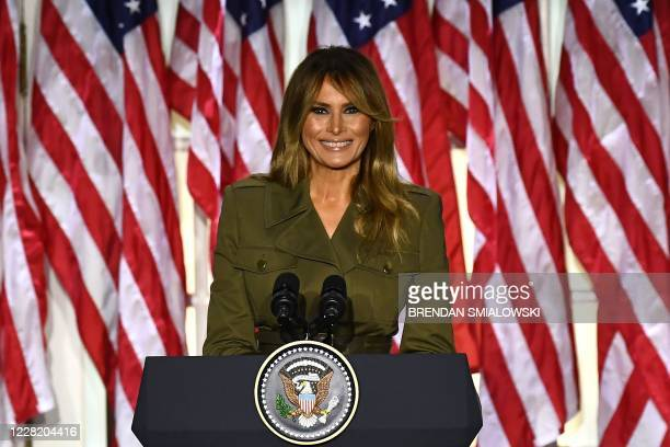 First Lady Melania Trump addresses the Republican Convention during its second day from the Rose Garden of the White House August 25 in Washington,...