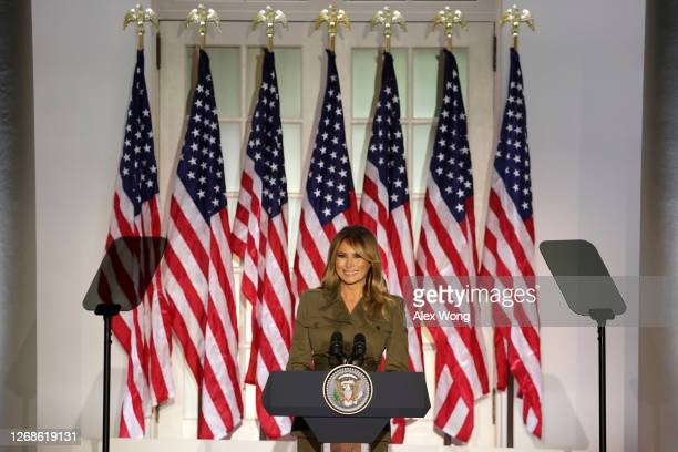 First lady Melania Trump addresses the Republican National Convention from the Rose Garden at the White House on August 25, 2020 in Washington, DC....