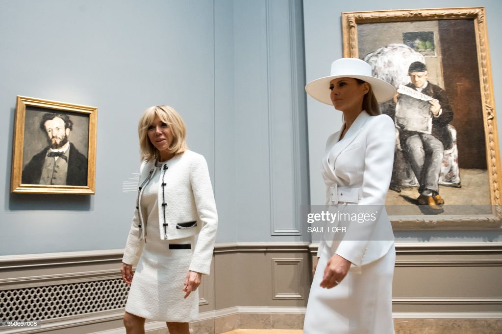 First Lady Melania Trump And Mrs. Brigitte Macron Visit The National Gallery Of Art