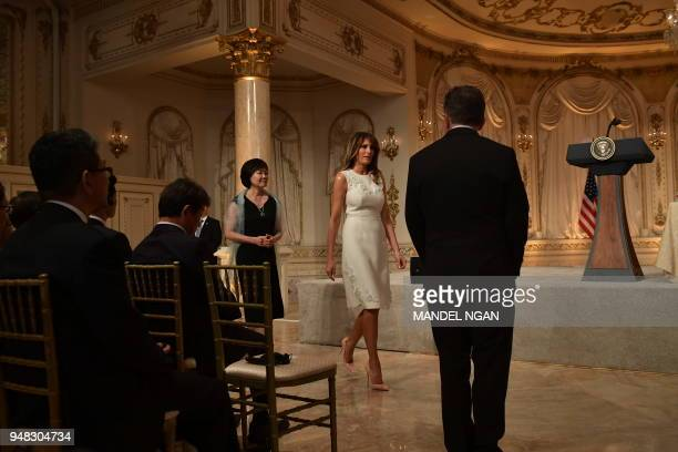 US First Lady Melania Trump and Japanese First Lady Akie Abe arrive for a joint press conference of US President Donald Trump and Japan's Prime...