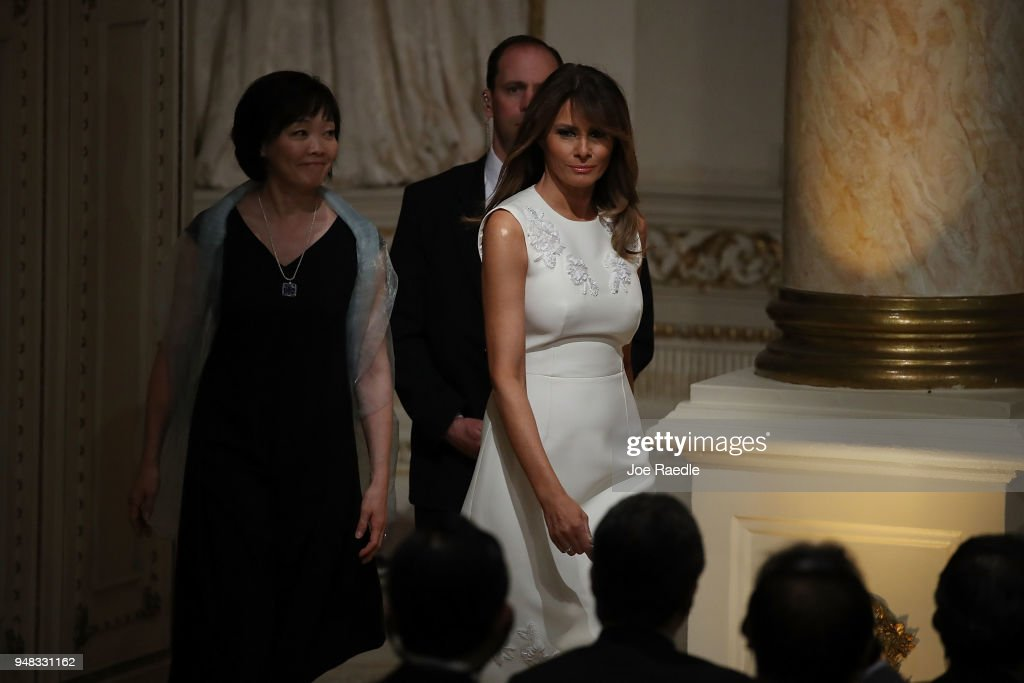 U.S. first lady Melania Trump and Japanese first lady Akie Abe arrive before the start of a news conference held by President Donald Trump and Prime Minister Shinzo Abe hold a news conference at Mar-a-Lago resort on April 18, 2018 in West Palm Beach, Florida. The two leaders are meeting for a multi-day working meeting where they are discussing world events.