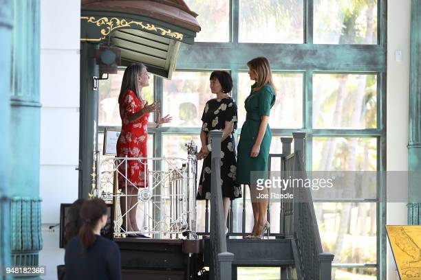 S first lady Melania Trump and Japan's first lady Akie Abe are given a tour of the Flagler museum by Erin Manning executive director of the Museum on...
