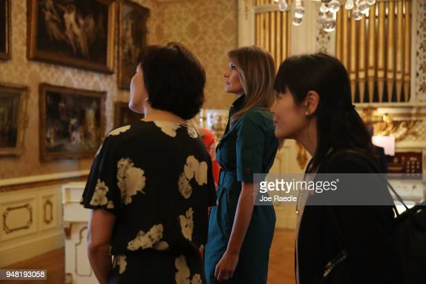S first lady Melania Trump and Japan's first lady Akie Abe are given a tour of the Flagler museum on April 18 2018 in Palm Beach Florida The first...
