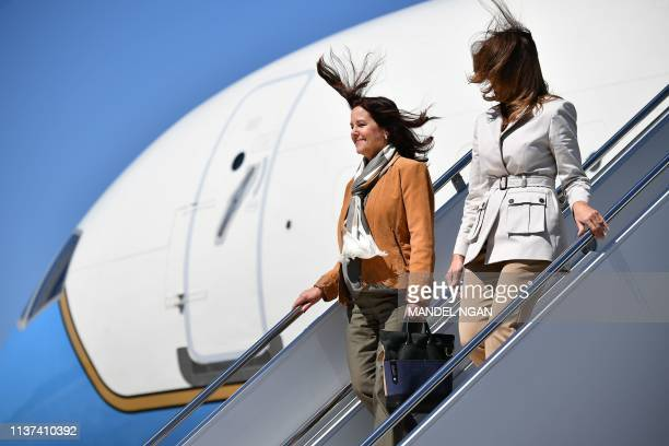 First Lady Melania Trump and Karen Pence, the wife of US Vice President Mike Pence, step off a plane up arrival at Fort Bragg in North Carolina on...
