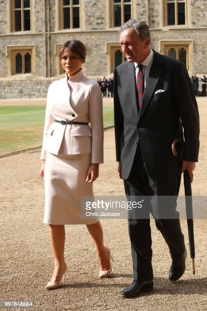 First Lady Melania Trump and Lieutenant Colonel Sir Andrew Ford walk from the Quadrangle after the inspection of the honour guard at Windsor Castle...