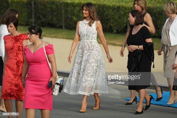 S First Lady Melania Trump and other spouses of heads of state and governments attend the evening reception and dinner at the 2018 NATO Summit on...