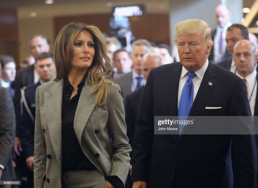 U.S. first lady Melania Trump and President Donald Trump depart the United Nations after the president's speech on September 19, 2017 in New York City. He addressed his first General Assembly meeting.