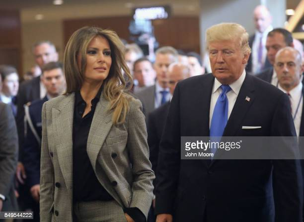 S first lady Melania Trump and President Donald Trump depart the United Nations after the president's speech on September 19 2017 in New York City He...