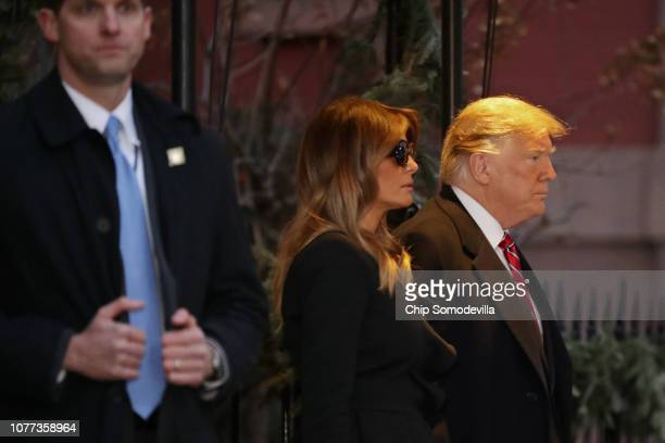 First lady Melania Trump and President Donald Trump leave the Blair House after paying a visit to the family of former President George HW Bush...