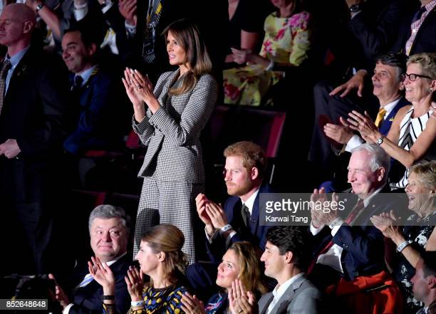 S First Lady Melania Trump and Prince Harry attend the opening ceremony on day 1 of the Invictus Games Toronto 2017 at Air Canada Centre on September...