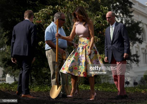 S first lady Melania Trump and Richard Gatchell Jr fifth generation grandson of President James Monroe participate in a tree planting ceremony on the...