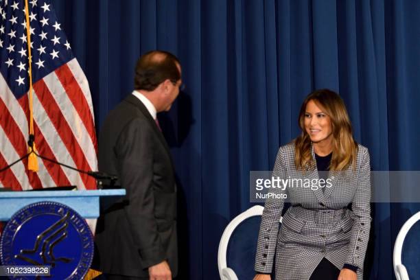 First Lady Melania Trump and Secretary of the Dept of Health and Human Services Alex M Azar II attend the conference on Neonatal Abstinence Syndrome...