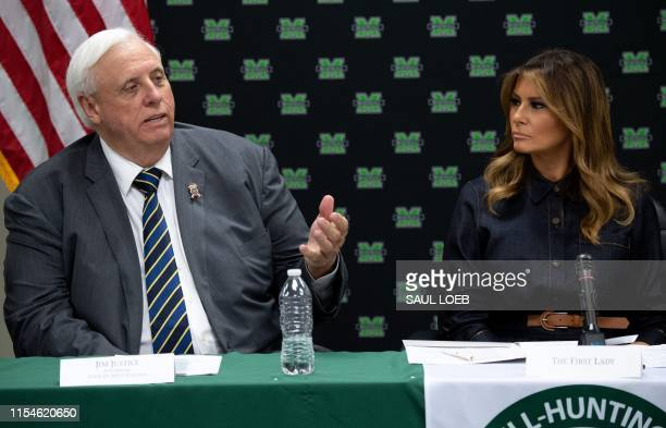 First Lady Melania Trump and West Virginia Governor Jim Justice attend a roundtable discussion on the opioid epidemic with local and state officials...