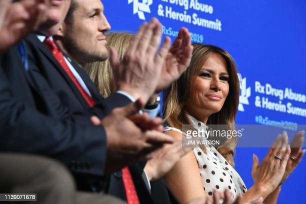US First Lady Melania Trump applauds during the Rx Drug Abuse and Heroin Summit in Atlanta GA on April 24 2019
