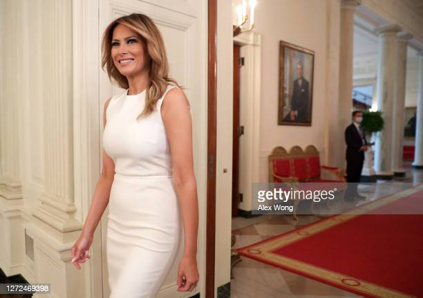 First Lady Melania Trump arrives at a roundtable on sickle cell disease in the State Dining Room of the White House on September 14, 2020 in...