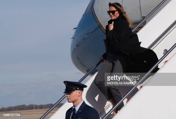 US First Lady Melania Trump arrives at Andrews Air Force Base in Maryland on November 28 2018 after attending a town hall meeting on opioids at...