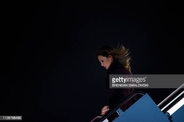 US first lady Melania Trump arrives at Andrews Air Force Base in Maryland on March 5 2019