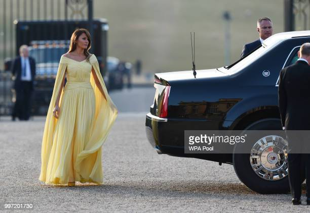 First Lady Melania Trump arrives at Blenheim Palace on July 12 2018 in Woodstock England Blenheim Palace is the birth place of the great wartime...