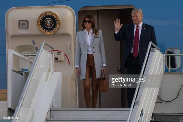 S first lady Melania Trump arrives at Helsinki International Airport on July 15 2018 in Helsinki Finland President Trump arrived in Helsinki for...