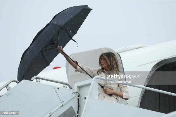 S first lady Melania Trump arrives at McAllen Miller International Airport to attend a round table discussion with doctors and social workers at the...