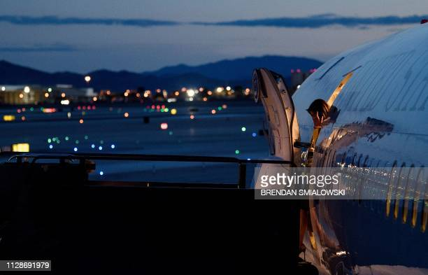 US first lady Melania Trump arrives at McCarran International Airport in Las Vegas Nevada on March 4 2019 The First Lady is travelling to Oklahoma...