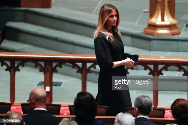 First lady Melania Trump arrives at St Martin's Episcopal Church for a funeral service for former first lady Barbara Bush on April 21 2018 in Houston...