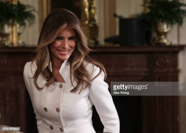 S first lady Melania Trump arrives at the East Room of the White House prior to a joint news conference February 15 2017 in Washington DC President...