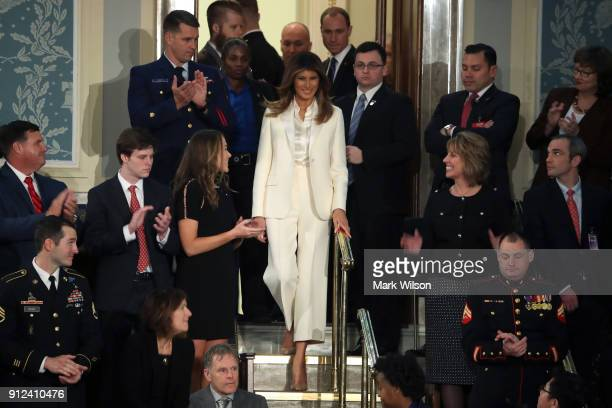 First lady Melania Trump arrives for the State of the Union address in the chamber of the US House of Representatives January 30 2018 in Washington...
