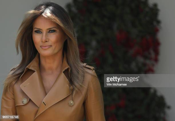 S first lady Melania Trump arrives in the Rose Garden to speak at the White House May 7 2018 in Washington DC Trump outlined her new initiatives...