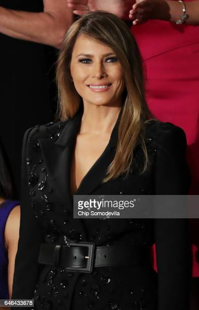 First lady Melania Trump arrives to a joint session of the U.S. Congress with U.S. President Donald Trump on February 28, 2017 in the House chamber...