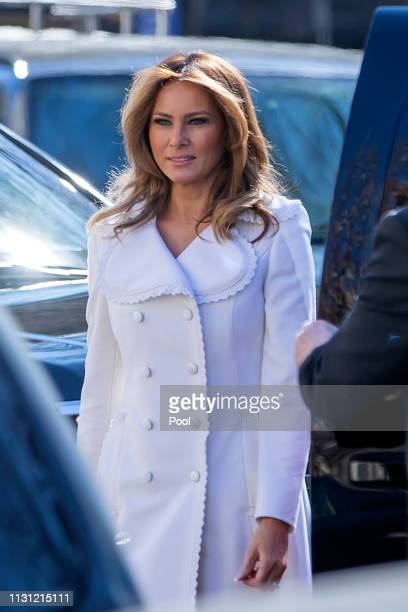 First lady Melania Trump arrives to attend services at St John's Episcopal Church March 17 2019 in Washington DC The Trumps are attending church on...